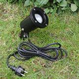 LED tuinspot zwart 230v snoer met stekker
