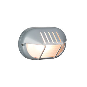 Bulleye buiten wandlamp 230v zilver